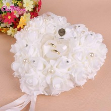 Hanging Wedding Favors Ring Box Rose Rhinestone Heart Design Ring Pillow for wedding Decorations(China)