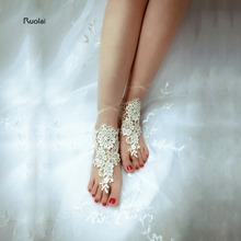 Cheap Barefoot Sandals Stretch Anklet Chain With Toe Retaile Sandbeach Champagne Wedding Bridal Bridesmaid Foot Jewelry(China)