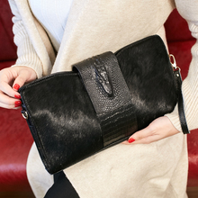 Horsehair Real Leather Day Clutch Evening Bags Party Purse Designer Brand Envelope Luxury Handbags Best Women Messenger Bag(China)