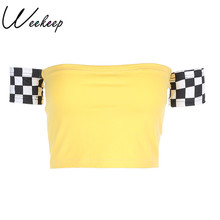 Weekeep Women 2017 Sexy Checkerboard Crop Print Tops Yellow Short Sleeve Backless Strapless t-shirt Brand Womens Cropped tshirt