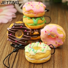 JETTING 1PC Key Colorful Soft Kawaii Squishy Chain Straps Cute Donuts Charms Cell phone Straps Random Color Sent