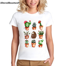 T Shirt Women 2017 New Arrival T-shirt Women Pot Desert Cactus Printed Funny T shirt Women summer Tees Shirt Femme Woman Tops(China)