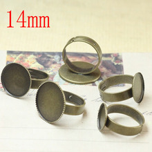 100 pcs Antique Brass Pad Open Adjustable RING Base Cabochon Size:14mm