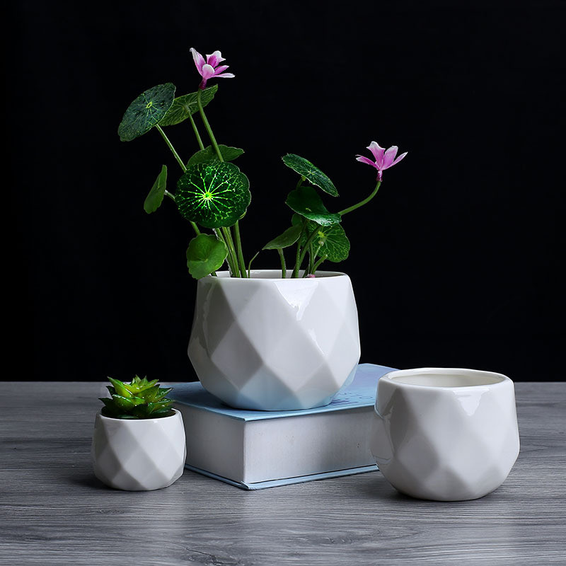 Creative Ceramic Diamond Geometric Flowerpot Simple Succulent Plant Container Green Planters Small Bonsai Pots Home Decoration6