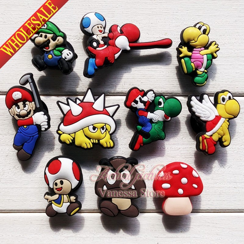 Popular cartoon 60pcs Super mario Bros PVC shoe charms shoes decoration shoe accessories Kids gift party gift toys<br><br>Aliexpress