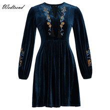 Wedtrend V-Neck Navy Velvet Print Floral Women Dresses With Full Sleeves Ladys Dresses Soft Cheaps Free Delivery Tassels Elegant(China)