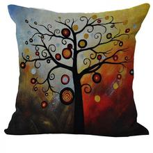 Latest Design Cartoon Colorful Life Tree Printing Linen Throw Pillow Cushion For Home Decor Factory Direct Supply