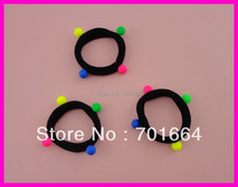 20PCS 12.0cm 4.75inches Kids size Black Elastic knitted ponytail holders Hair Ties with neon color ball beads,BARGAIN for BULK