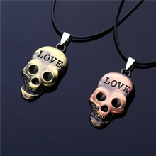2016 New Fashion Men Steampunk Jewelry Antique Bronze Plated Love Carved Gothic Imitation Titanium Steel Skull Pendant Necklace
