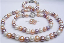 ! Lovely natural 7-8mm mixed-colour Pearl Necklaces charming Bracelets Earrings sets  JT5063(China)