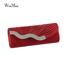Winmax 2017 Ladies Silk Evening Bag Fashion Bridal Wedding Satin 3D Hand Bags White Party Purse Pink Red Black Day Clutch Chain(China)