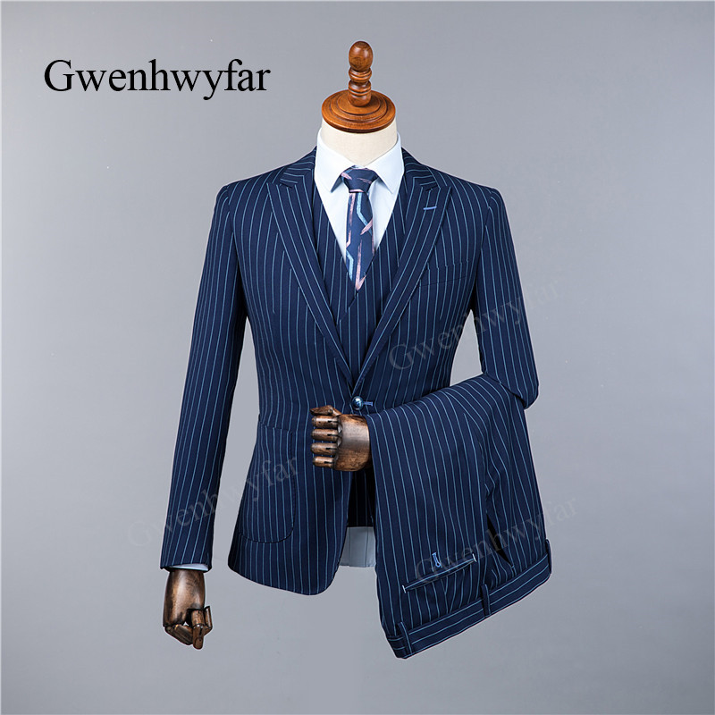 Gwenhwyfar 2018 Winter Top Quality Men Suits Fashion Blue Stripe Men's Slim Fit Business Wedding Suit Men Wedding Suit 3 Pieces