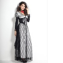Hot Sale Di Ramon Long-sleeved Stage Halloween Role Playing Ghost Bridal Costume Long dress(China)
