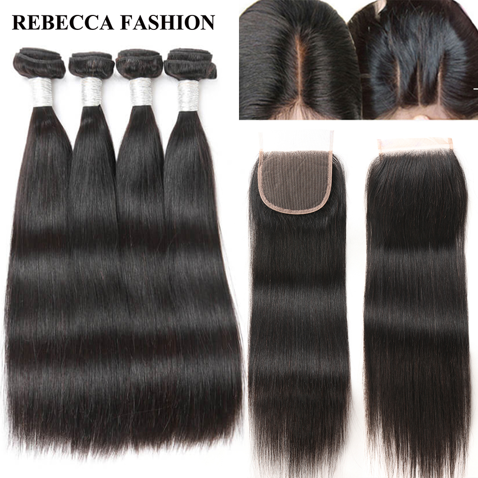 Rebecca Brazilian Straight Remy Hair 4 Bundles with Closure Human Hair Weave Bundles 400g 4×4 Lace Closure Hair Extensions