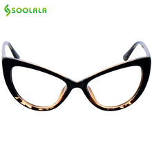 SOOLALA Cat Eye Reading Glasses Women Men Oversized Reading Glasses +0.5 0.75 1.25 1.75 2.25 to 4.0 Custom Myopia Glasses(China)