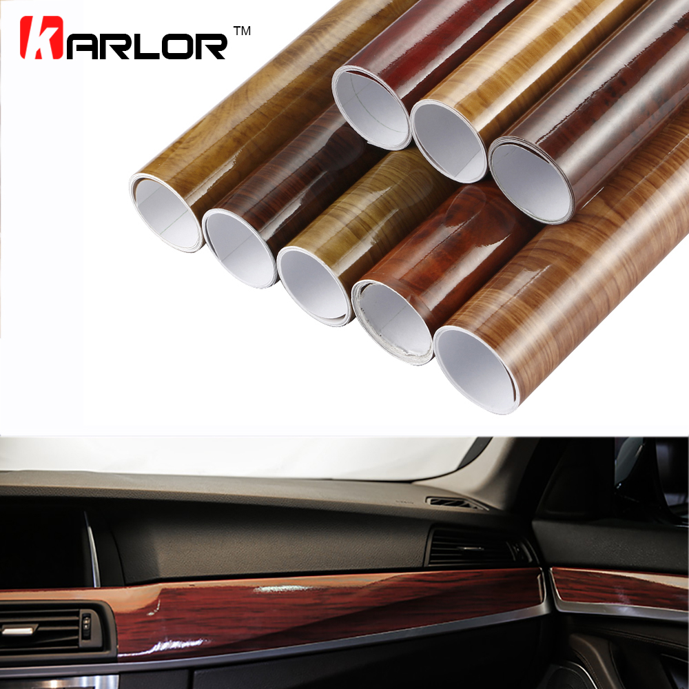 Car Interior Wood Grain Textured Vinyl Wrap Sticker Decal Film Glossy Matte Kit