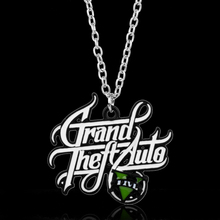 HANCHANG Hot Sale PS4 Game GTA Jewelry Grand Theft Auto Pendant Necklaces For Men Fans V Logo Necklace Cosplay