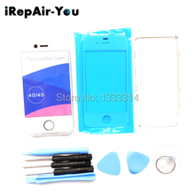 For iPhone 4S TPU Case Back Cover Front Glass lens replacements Repair Kits +Middle Frame Bezel+Tools White