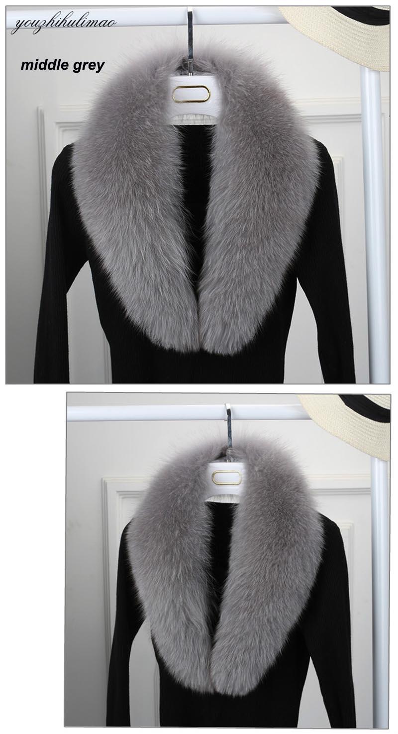 fox fur collar middle grey