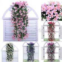 Bunch Silk Hanging Plants Artificial Lily Flower Garland Party Decor(China)