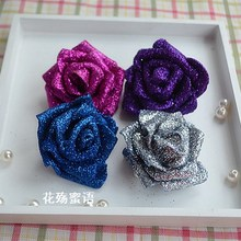100 pcs/lot Glitter Flowers Foam Rose Heads Flower Decoration Foam Flowers Blue Silver Purple Gold