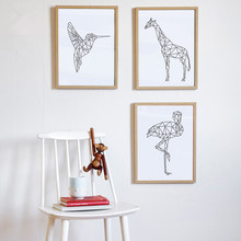 New Nordic Canvas Art Print Painting Geometric Line Animal Camel Ostrich Pecker Giraffe Wall Pictures Home Decor No Frame SZ884(China)