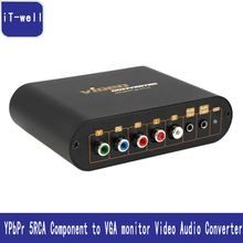 YPbPr 5RCA Component to VGA monitor Video Audio Converter for PS3 PS2 Xbo 360 Wii PSP HD Box Kaycube