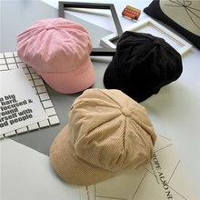 2017 Autumn Winter New Hot Fashion Female Corduroy Solid Color Painter Caps Hats Women Casual Simple Vintage Warm Berets(China)
