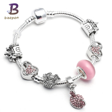 Buy Fashion Charm Bracelet Hat Pendant & Mickey Charm Bracelet Kid Pink Murano Glass Beads Friendship Fine Bracelet for $2.68 in AliExpress store