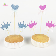 6pcs/set  Glitter Crown and Heart Topper with bow Baby Shower Decoration Birthday topper it is a girl and boy Decoration Supply