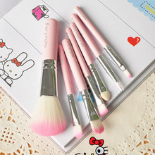New Hello Kitty 7 Pcs Mini Makeup brush Set Pink Cosmetics Kit de pinceis de maquiagem Make up Tool Hair Foundation Brushes Kit