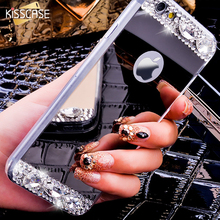 KISSCASE 6S 7 Plus Diamond Glitter Mirror Case For iPhone 7 7 Plus 6 6s Plus 5 5S SE Dual Layer Bling TPU Slim Clear Back Cover