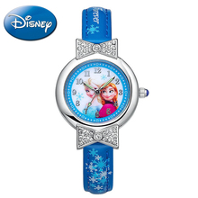 Disney Frozen Elsa Anna princess best rhinestone watch Pretty Girls fashion casual quartz watches Kid leather 54055 Snowflake(China)
