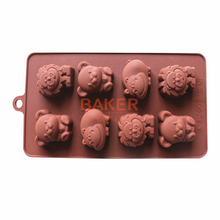 biscuit candy DIY tools Silicone  Mold 8  animals chocolates mold lion hippo bear cookies molds SICM-008-18