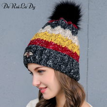 DeRuiLaDy 2017 New Women Woolen Yarn Hats Autumn Winter Hat Small Bee Pattern Four Color knitting Female Skullies Beanies(China)