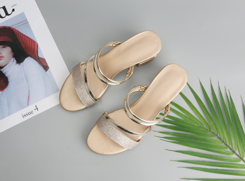 Meotina Brand 2018 Summer Sandals Women Block Heels Slippers Peep Toe High Heels  Female Party Shoes Gold Hot Sale Big Size 33-43. (2) c 4402ec8ad1a0