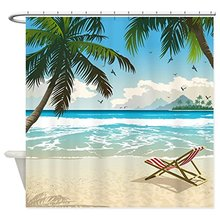 Ocean Beach Seascape White Wooden Windows Summer Tropical Waterproof Fabric Polyester Bathroom Shower Curtain(China)