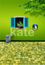 Photo Background Green Brick Floor Wall Children Photography Backdrops Phone Flower Window For A Photo Shoot