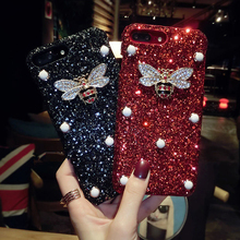 Luxo Bling Glitter Para O Iphone X XS MAX XR 8 8 Além de 7 7 Mais Caso Abelha de Cristal Para caso Iphone 5 6 6 s Plus 5S SÉ(China)
