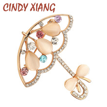 CINDY XIANG Opal And Rhinestone Umbrella Brooches For Women Cute Korea Style Brooch Pin Lead Free Coat Dress Corsage Accessories(China)