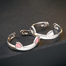 Cute cat head with two ears open ring cat claw inside and frosted ears  slightly adjustable Diameter 17mm
