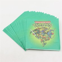 20pcs/lot Cartoon Wipe Happy Birthday Party Ninja Turtle Theme Baby Shower Kids Favors Paper Napkins Decoration Event Supplies