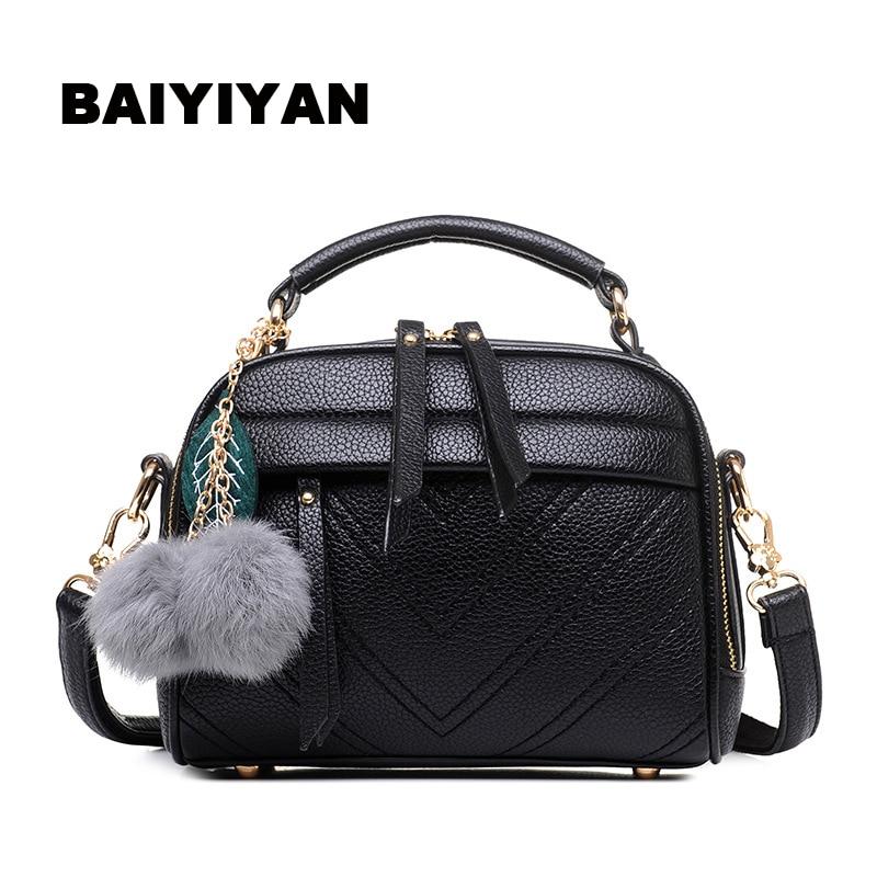 Fashion Women Bag Hair ball Out Crossbody Bags PU Leather Shoulder Bag Brand Women Messenger Bags<br><br>Aliexpress