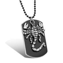 Biker Men's Black Military Black Dog Tag Silver Tone Scorpion Pendant Necklace 27.5 Inch Bead Chain (with Gift Bag)