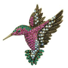 Antique Animal Hummingbird Brooch Rose Red Women Corsage Ornaments Factory Direct Wholesale Supply Of New Products(China)