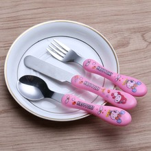 Western Stainless Steel Baby Spoon Fork Knife Sets Tableware Kids Travel Picnic Set Gift