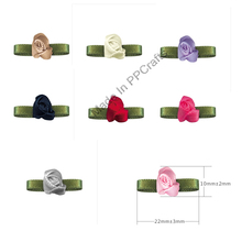 22x10MM Satin Ribbon  Foliage Bud Flower With Bead  For Packing Cloth Hairbow DIY Crafts 200pcs Free Shipping