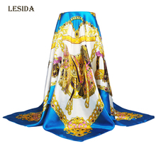 [LESIDA] 2016 New Fashion Cheap Imitate Silk Scarf Women,The Chain Design Print Bandana,90CM Square Scarves And Shawls DF9010