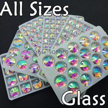 Wholesale Crystal Clear AB Rivoli Sew On Stone Flatback 2holes 8,10,12,14,16,18mm Round Glass Sewing Crystal Beads Dress Making