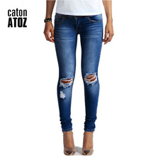 catonATOZ 1884 New Hot Fashion Ladies Cotton Denim Pants Stretch Womens Bleach Ripped Knees Skinny Jeans Denim Jeans For Female(China)
